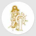 Retro Pirate Classic Round Sticker