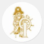 Retro Pirate Round Stickers