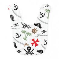 Retro Pirate Skulls Bib