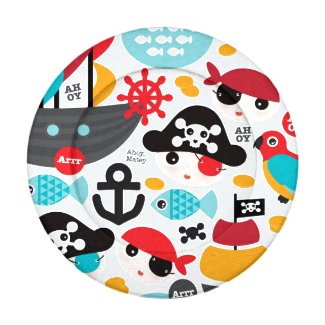 Retro pirates illustration sailing pack of small button covers
