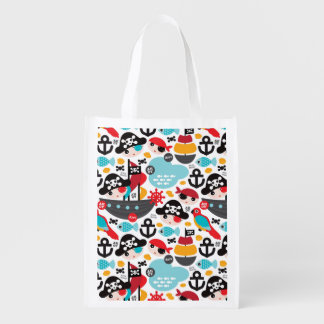 Retro pirates illustration sailing grocery bag