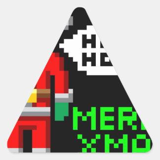Retro pixel art Christmas Santa Triangle Sticker