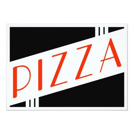 retro pizza 5x7 paper invitation card