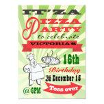 Retro Pizza Party 5x7 Paper Invitation Card