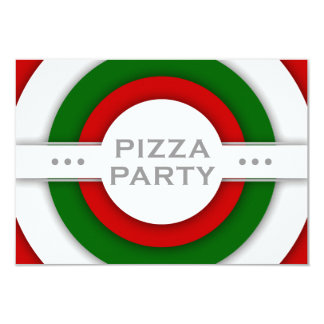 retro PIZZA party Card