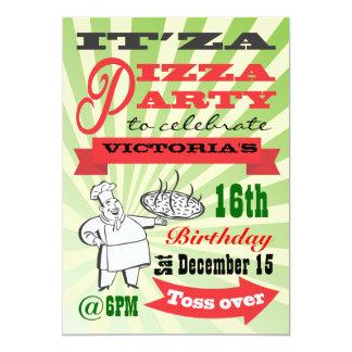 Retro Pizza Party Card