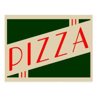 retro pizza party postcard