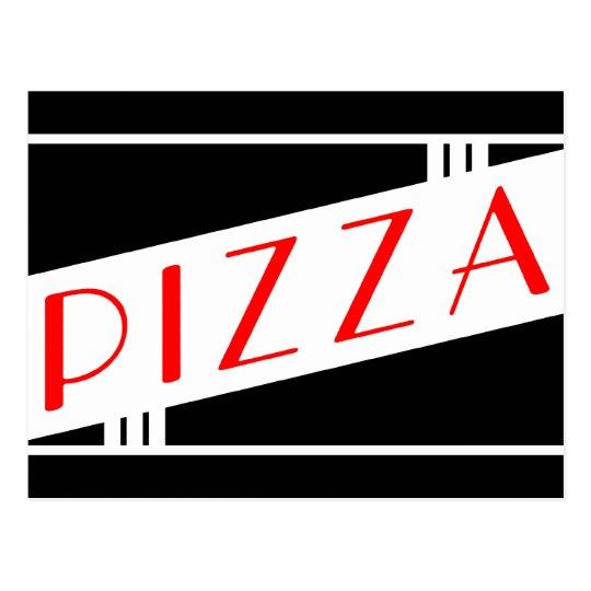 retro pizza postcard