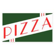 retro pizza rectangular stickers