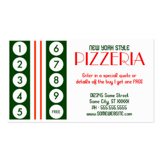 retro pizzeria customer loyalty Double-Sided standard business cards (Pack of 100)