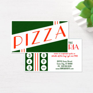retro pizzeria customer loyalty business card