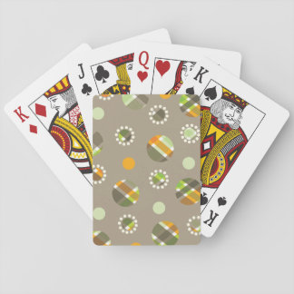 Retro Plaid Dots In Orange And Green Deck Of Cards