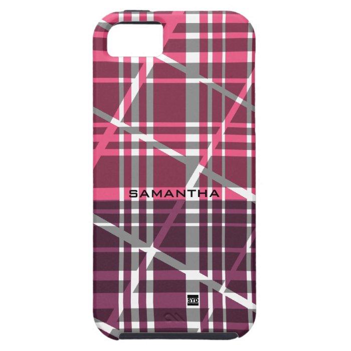 Retro Plaid Pink Shade iPhone 5 Tough Case