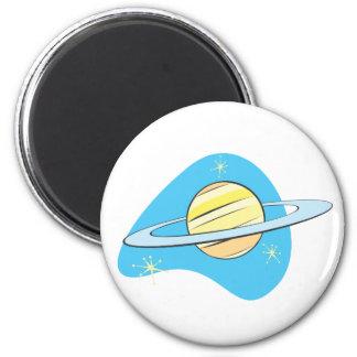 Retro Planet Saturn 2 Inch Round Magnet