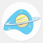Retro Planet Saturn Round Sticker