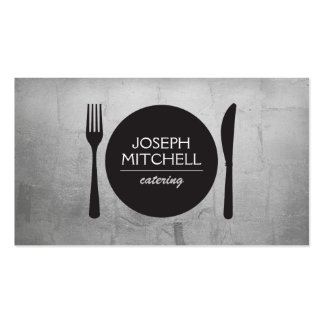 Retro Plate Logo for Chefs, Catering, Restaurants Double-Sided Standard Business Cards (Pack Of 100)