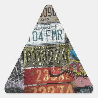 Retro Plates. Triangle Sticker