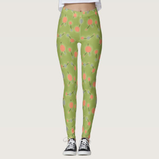 Retro Playful Small Molecules Universe Peach Green Leggings