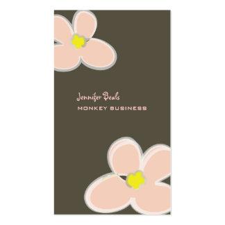 Retro plumerias in pink + graphite business card