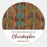 Retro Pod Bookplates Round Stickers