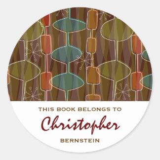 Retro Pod Bookplates Classic Round Sticker