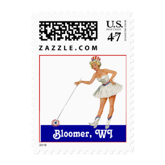 Retro Point Bloomer WI Wisconsin Travel Stamp