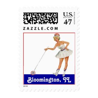 Retro Point Bloomington IL Illinois Travel Stamp