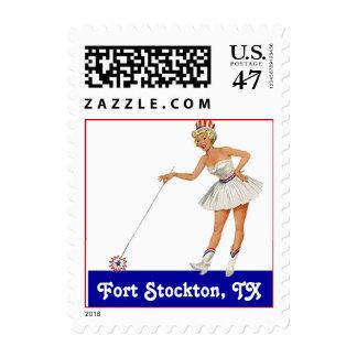 Retro Point Fort Stockton TX Texas Travel Stamp