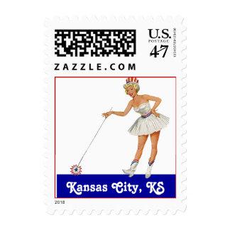 Retro Point Kansas City KS Kansas Travel Stamp