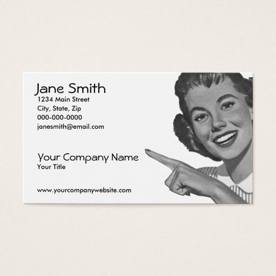 Retro Pointing Woman Business Card