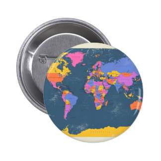 Retro Political Map of the World Badges