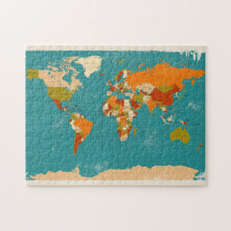 Retro Political Map of the World Jigsaw Puzzle