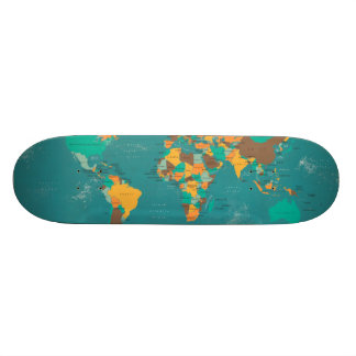 Retro Political Map of the World Skateboard Deck