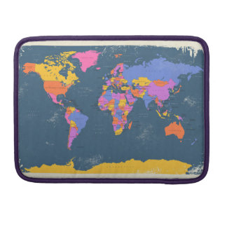 Retro Political Map of the World Sleeve For MacBook Pro
