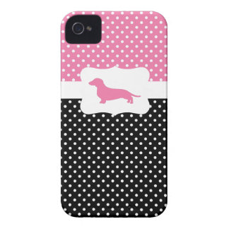 Retro Polka dot case w/Dachshund