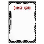 Retro Polka Dot Dinner Menu Dry-Erase Boards