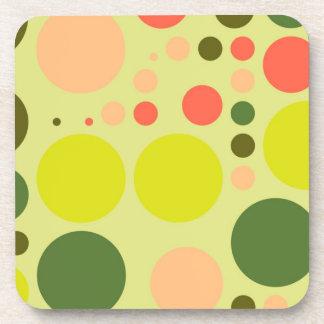 Retro Polka Dot Mosaic Pattern Coaster