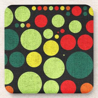 Retro Polka Dot Pattern Drink Coaster