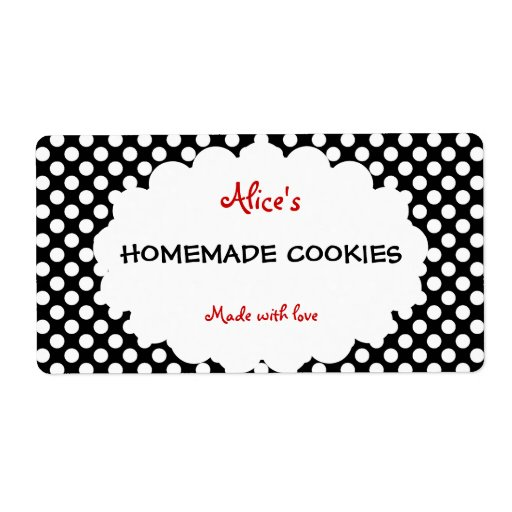 Retro Polka Dot Personalized Homemade Cookies Custom Shipping Label