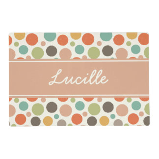 Retro Polka Dot Personalized Pet Placemat Laminated Placemat