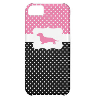 Retro Polka Dot w/Dachshund iPhone 5C Cover