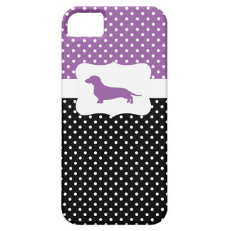 Retro Polka Dot w/Dachshund iPhone SE/5/5s Case