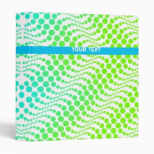 Retro Polka Dot Wave Binder Blue Green
