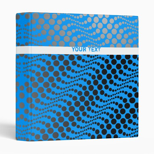 Retro Polka Dot Wave Binder Blue Grey