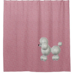 Retro Polka Dots And Poodle Shower Curtain