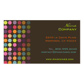 Retro polka dots, dark graphite business cards