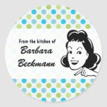 "Retro Polka Dots ""From the Kitchen"" sticker"