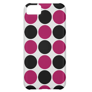 Retro Polka Dots in Black & Berry Pink Cover For iPhone 5C