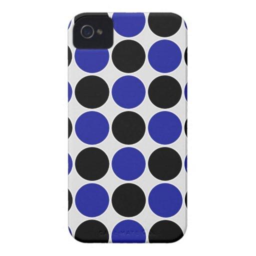Retro Polka Dots in Blue & Black iPhone 4 Case