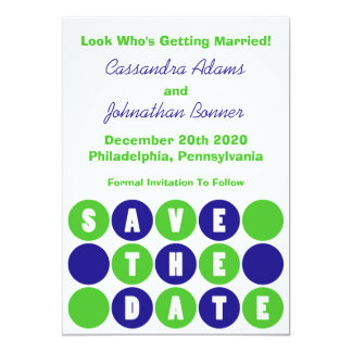 Retro Polka Dots Save The Date (Navy Blue / Green) 5x7 Paper Invitation Card